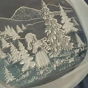 Mikasa Walther Glas Germany Frosted Winter Christmas Glass Oval Serving Platter